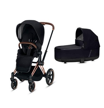 carros de paseo de bebé - carrito bebe priam 2 piezas premium black chasis gold 440x458 - Carritos de bebé