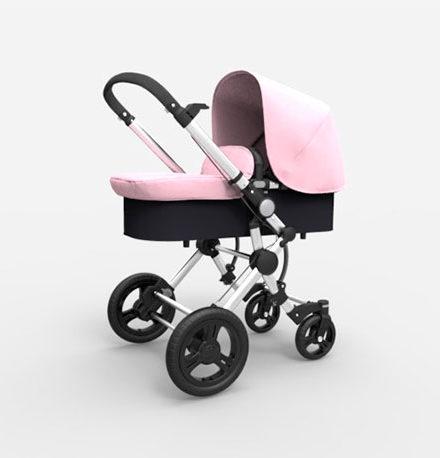 carros de paseo de bebé - carro bebe 2 piezas baby essential babe ace 024 capota piel chasis cromado rosa 440x458 - Carritos de bebé